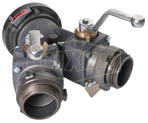 Aluminum 2-Way Ball Valve Storz Inlet with Male Outlets
