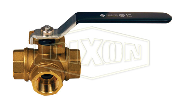 3-Way Brass Diverting Ball Valve T Flow