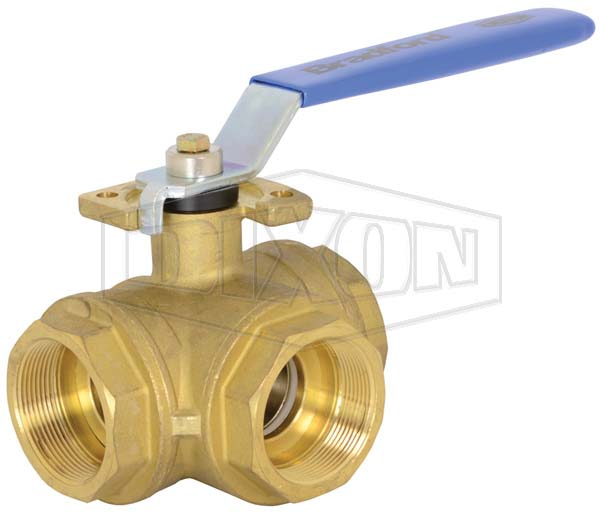 3-way Industrial Brass Ball Valve