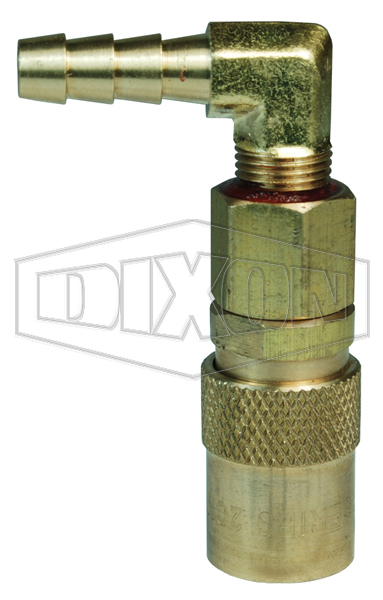 DQC CM-Series Industrial Mold Interchange Valved Coupler 90° Hose Barb