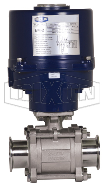 Electrically Actuated 3-Piece Sanitary Stainless Ball Valve