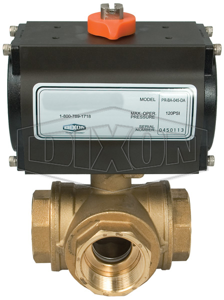 BV3BVL/TR Pneumatically Actuated Brass 3-Way Ball Valves
