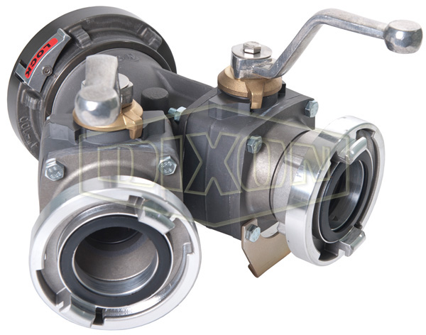 Aluminum 2-Way Ball Valve Storz Inlet with Storz Outlets