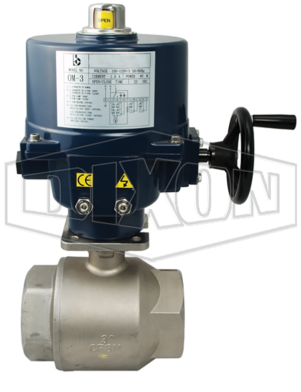 electrically actuated stainless steel ball valve